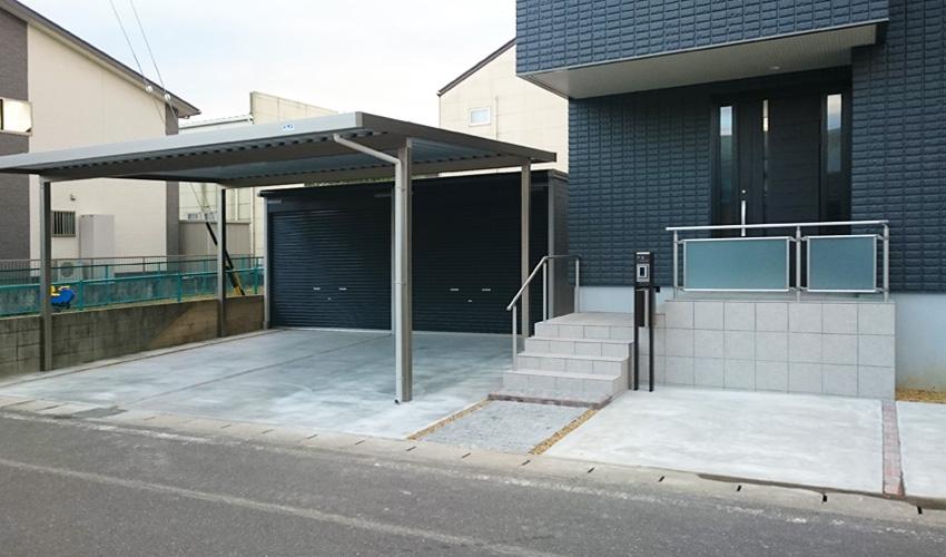 施工事例 新築外構 玄関 カーポート