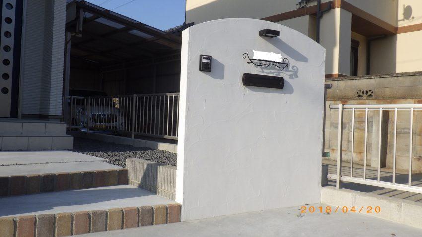 施工事例 新築外構 門柱