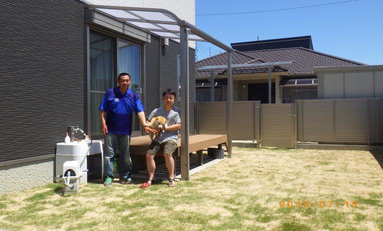 施工事例、庭、テラス、ウッドデッキ、芝、フェンス